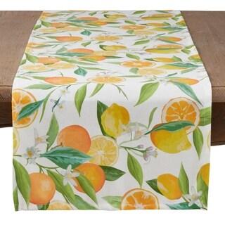 Saro Lifestyle Grove House Collection Lemon and Orange Print Table Runner