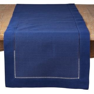 Saro Lifestyle Blue Classic Hemstitch Border Table Runner