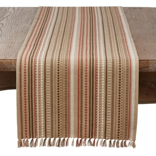Saro Lifestyle Geo Stripe Design Stitched Table Runner