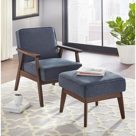 Simple Living Sonia Dark Walnut Finish Upholstered Chair and Ottoman Set