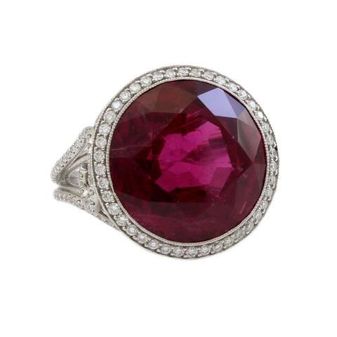 Platinum 15CT Brilliant Red Tourmaline Diamond Estate Cocktail Ring (G - H,VS1 - VS2) Size - 5.5