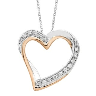 10Karat White Rose Gold 1 10cttw Diamond Heart Pendant With Chain