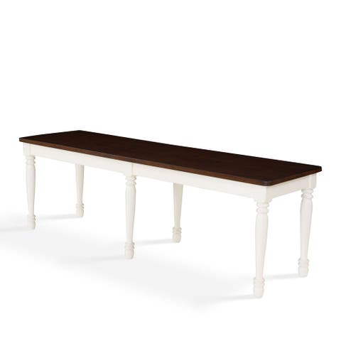 """Copper Grove Dumbea White Dining Bench with Espresso Seat - 54 """"W x 16 """"D x 18 """"H"""