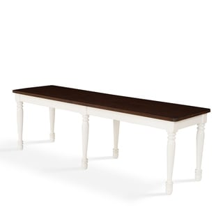 "Link to Copper Grove Dumbea White Dining Bench with Espresso Seat - 54 ""W x	 16 ""D x	18 ""H Similar Items in Kitchen & Dining Room Chairs"