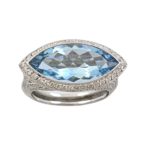 Platinum 5CT Aquamarine Diamond Estate Cocktail Ring (G-H,VS1-VS2)