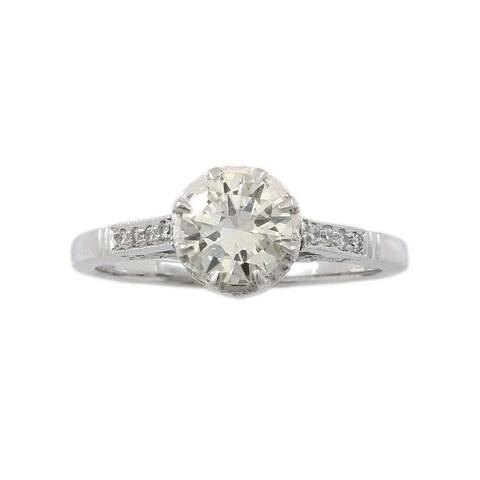 Platinum .75ct Diamond Vintage Engagement Ring (J-K,SI1-SI2)