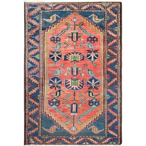 """Vintage Hamadan Wool Rug 3' 3"""" X 4'10"""" - 3' x 5'"""