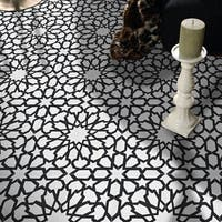 Bahja in White and Black Handmade 8x8-in Moroccan Tiles, Pack of 12