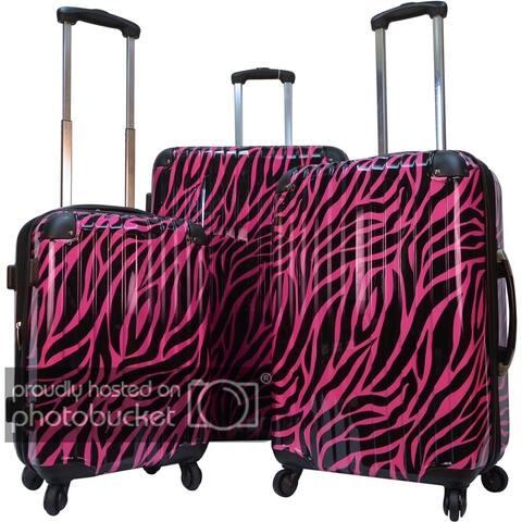 Karriage-Mate Polycarbonate 3-piece Hardside Spinner Luggage Set- Burgundy Zebra