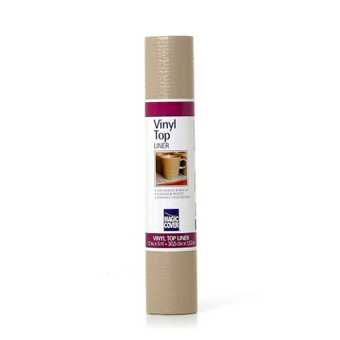 Magic Cover Vinyl Top Non-Adhesive Shelf Liner, 12-Inch by 5-Feet, Taupe, Pack of 6