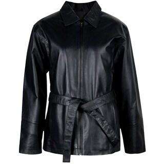 Ladies Leather Belted Jacket