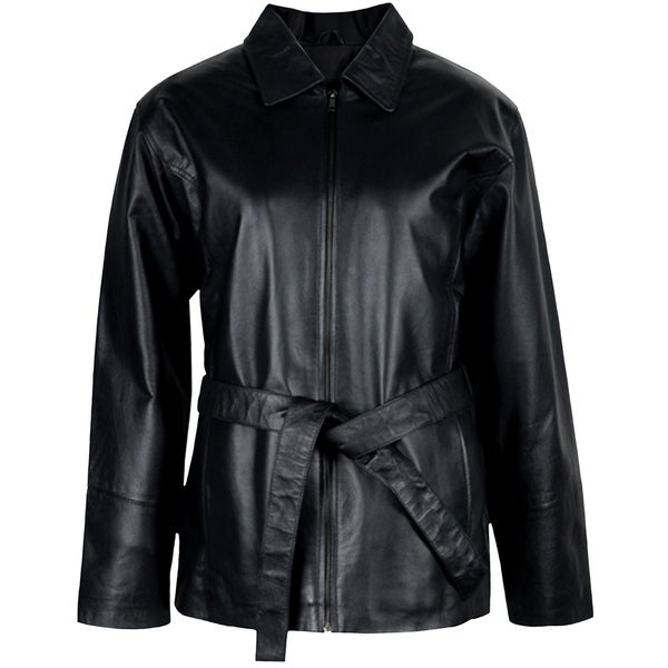 Ladies Leather Belted Jacket
