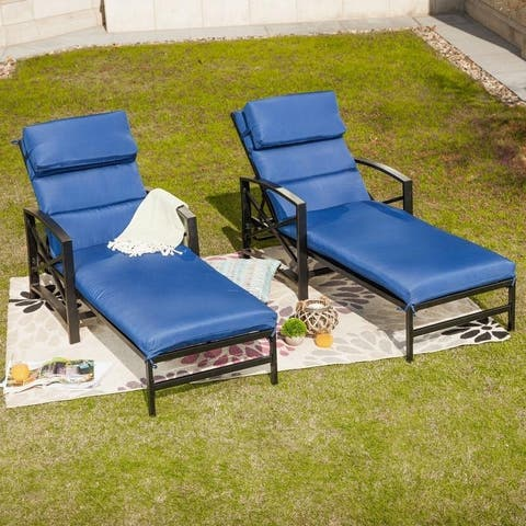 PATIO FESTIVAL ® Outdoor 2-Piece Chaise Lounger Set with Cushions