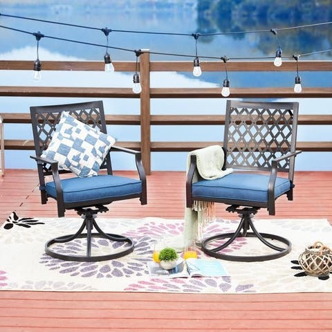 PATIO FESTIVAL Outdoor Cushioned Swivel Dining Chairs (Set of 2)