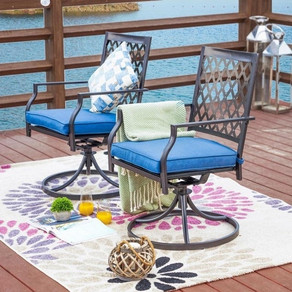 PATIO FESTIVAL Outdoor Cushioned Swivel Dining Chairs (Set of 2). Opens flyout.
