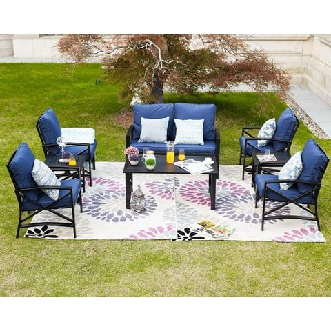 PATIO FESTIVAL 8-Piece Outdoor Sofa Seating Group with Cushions