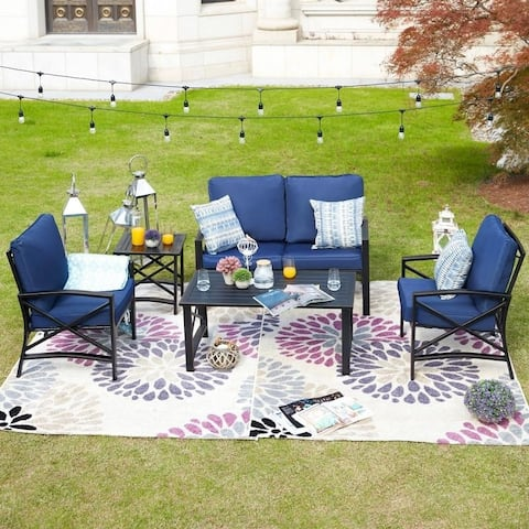 PATIO FESTIVAL 5-Piece Outdoor Sofa Seating Group with Cushions