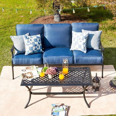 PATIO FESTIVAL 3-Seater Outdoor Sofa with Coffee Table Set