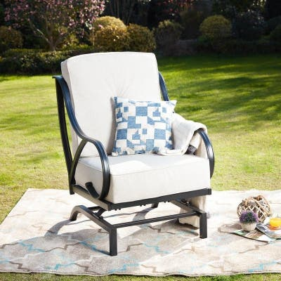 PATIO FESTIVAL Outdoor Rocking Motion Chair with Cushions
