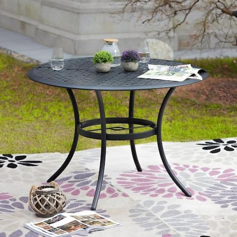 PATIO FESTIVAL Outdoor Steel Dining Table with Umbrella Hole