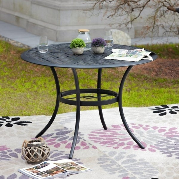 PATIO FESTIVAL Outdoor Steel Dining Table with Umbrella Hole. Opens flyout.