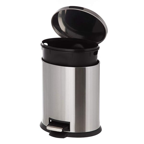 Shop Home Zone Oval Stainless Steel Kitchen Trash Can - 5 ...