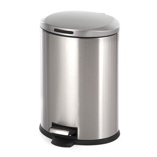 Home Zone Oval Stainless Steel Kitchen Trash Can - 12 Liter / 3 Gallon Storage