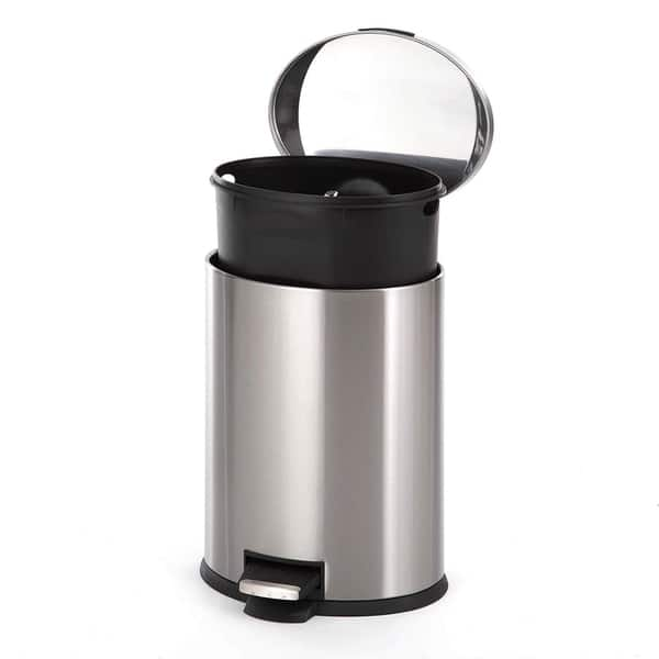 Shop Home Zone Oval Stainless Steel Kitchen Trash Can - 12 ...