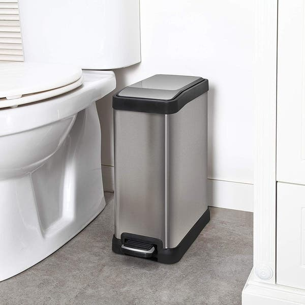 Shop Home Zone Rectangular Stainless Steel Kitchen Trash Can ...