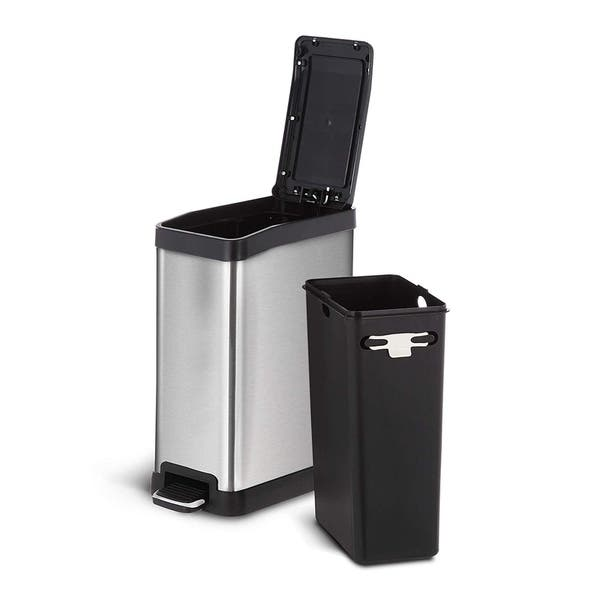 Shop Home Zone Rectangular Stainless Steel Kitchen Trash Can