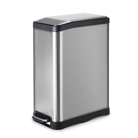 Home Zone Rectangular Stainless Steel Kitchen Trash Can - 45 Liter / 12 Gallon Storage