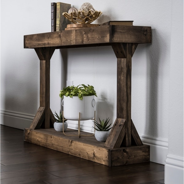 Barb Small Rustic Solid Wood Modern Console Table by Del Hutson Designs