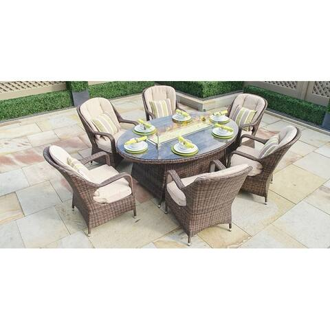7 Piece Outdoor Gas Fire Pit Set Patio Wicker Oval Table with Arm Chairs by Moda Furnishings