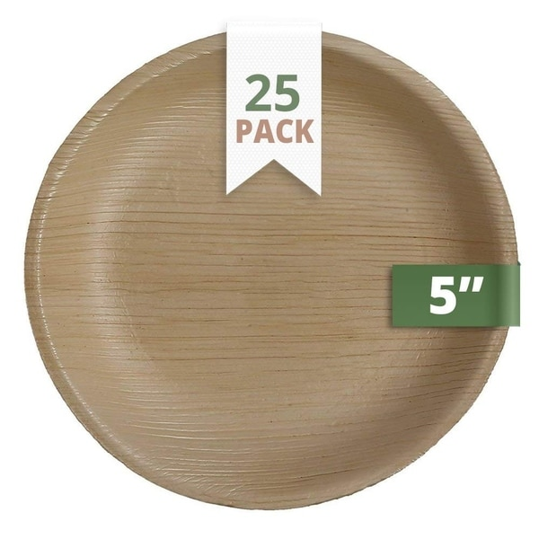 CaterEco 5-inch Round Palm Leaf Plates Set (25 Pack)