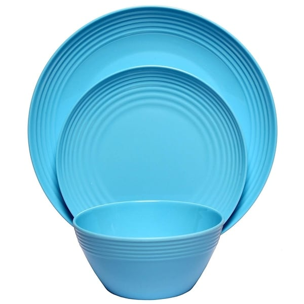 Melange 18 Piece Melamine Dinnerware Set Solids Collection Color Blue Free Shipping On Orders Over 45 27220778