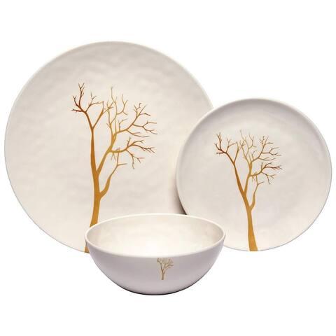 Melange 18-Piece Melamine Dinnerware Set (Gold Tree) Dinner Plate, Salad Plate & Soup Bowl (6 Each)