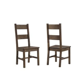 Kane Rustic Wood Dining Chairs (Set of 2)