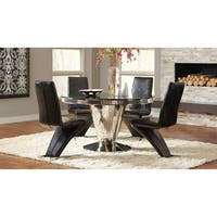 Belt Contemporary Black and Mirrored Pedestal Dining Table - Chrome