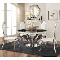 Glitz Hollywood Glam Round Silver Dining Table - Black