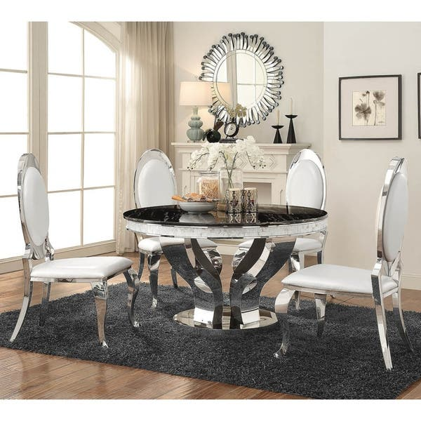 Silver Orchid Punkosdy Glam Round Black Silver Dining Table Black Overstock 27220889