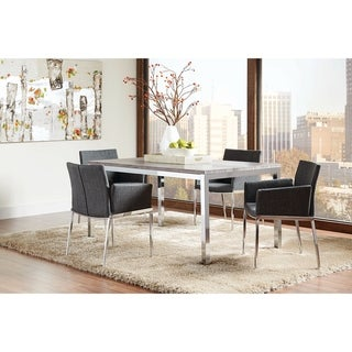 Theodore Contemporary Weathered Grey Dining Table - Chrome/Weathered Grey