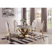 Camryn Modern Marble and Gold Dining Table - Grey/White