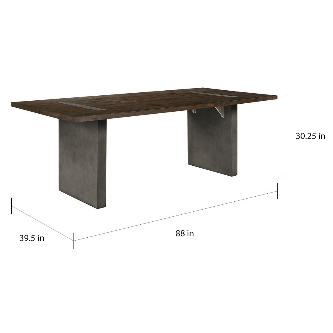 Carbon Loft Rideous Grey Wood and Concrete Dining Table