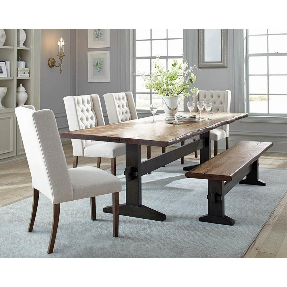 Rochester Farmhouse Mahogany Dining Table - Natural Honey/Smokey Black