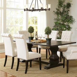 Link to Copper Grove Villeneuve Rustic Amber Rectangular Double Pedestal Dining Table Similar Items in Dining Room & Bar Furniture