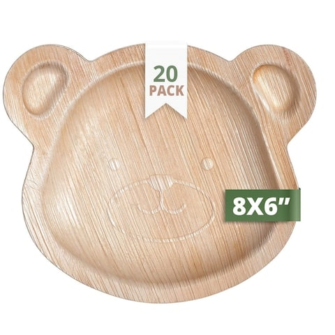 CaterEco Kids Teddy Bear Palm Leaf Plates Set