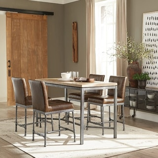 Carbon Loft Reedy Weathered Elm and Metal Counter-height Table
