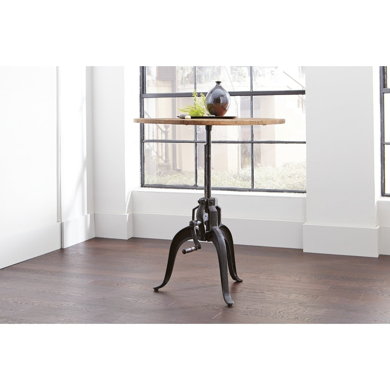 Adjustable Height Round Table.Garrett Round Industrial Adjustable Height Dining Table Black Natural