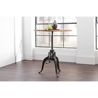 Garrett Round Industrial Adjustable Height Dining Table - Black/Natural