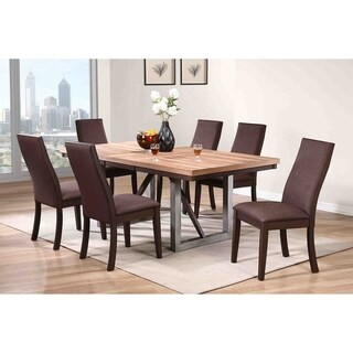 Rockwood Industrial Natural Walnut Dining Table - Espresso/Steel Grey/Natural Walnut